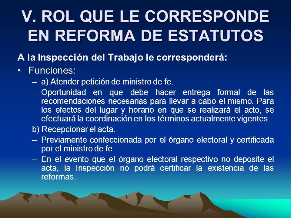 V. ROL QUE LE CORRESPONDE EN REFORMA DE ESTATUTOS A la Inspección del Trabajo le corresponderá: Funciones: –a) Atender petición de ministro de fe. –Op