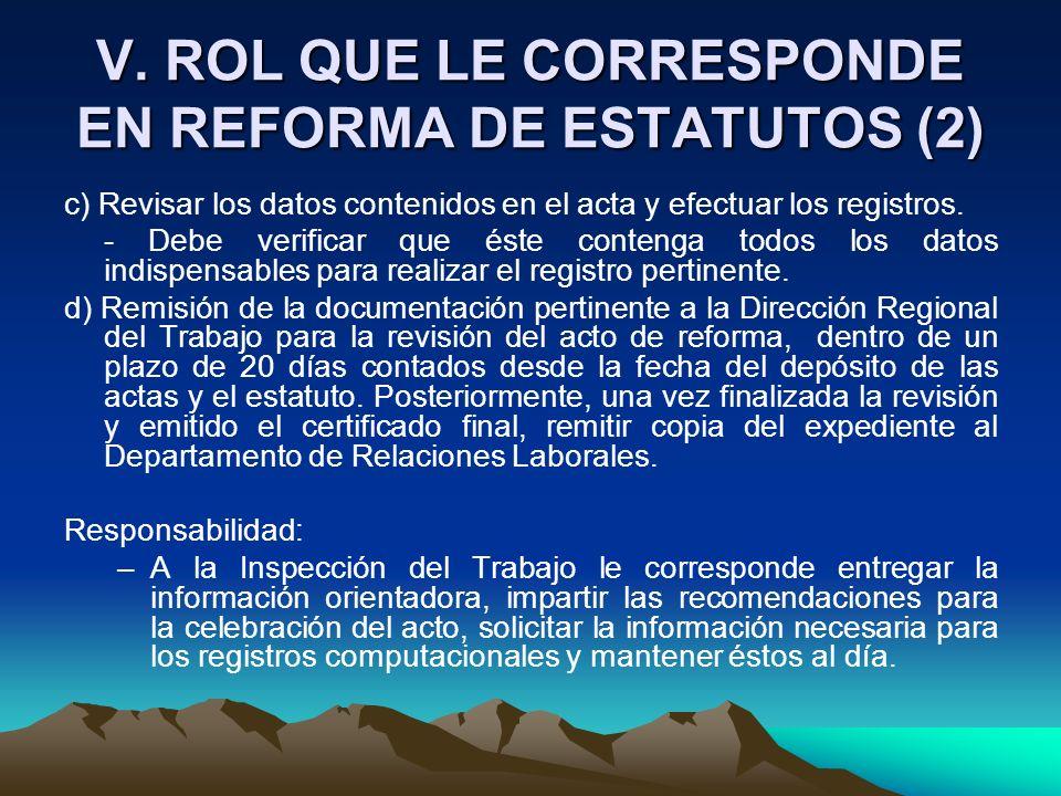 V. ROL QUE LE CORRESPONDE EN REFORMA DE ESTATUTOS (2) c) Revisar los datos contenidos en el acta y efectuar los registros. - Debe verificar que éste c