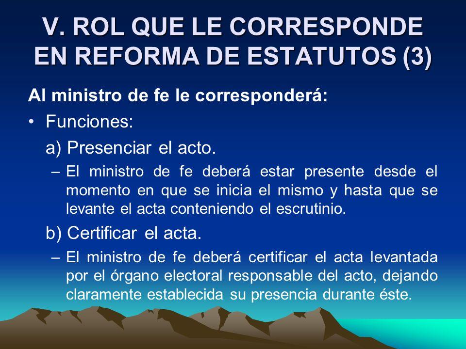 V. ROL QUE LE CORRESPONDE EN REFORMA DE ESTATUTOS (3) Al ministro de fe le corresponderá: Funciones: a) Presenciar el acto. –El ministro de fe deberá