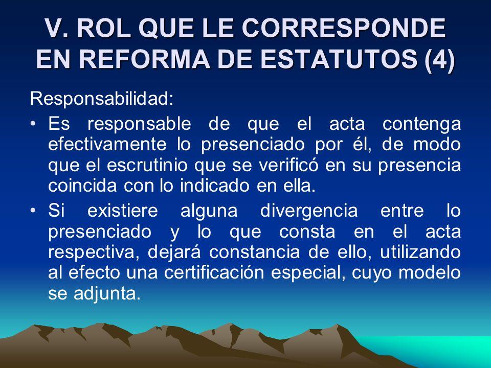 V. ROL QUE LE CORRESPONDE EN REFORMA DE ESTATUTOS (4) Responsabilidad: Es responsable de que el acta contenga efectivamente lo presenciado por él, de