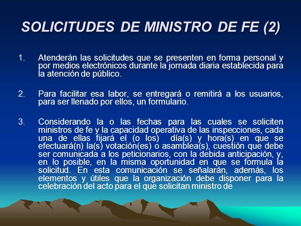 SOLICITUDES DE MINISTRO DE FE (2) 1.Atenderán las solicitudes que se presenten en forma personal y por medios electrónicos durante la jornada diaria e