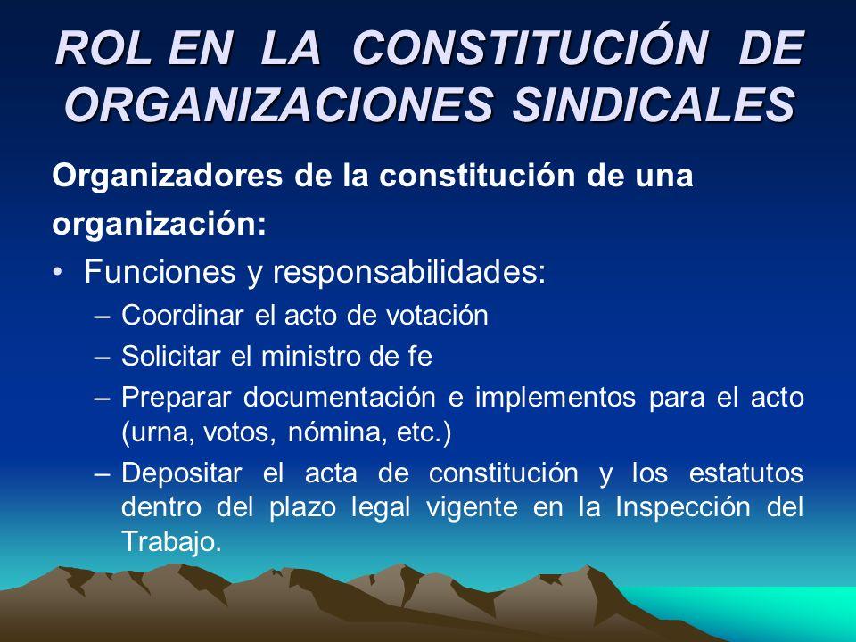 ROL EN LA CONSTITUCIÓN DE ORGANIZACIONES SINDICALES Organizadores de la constitución de una organización: Funciones y responsabilidades: –Coordinar el