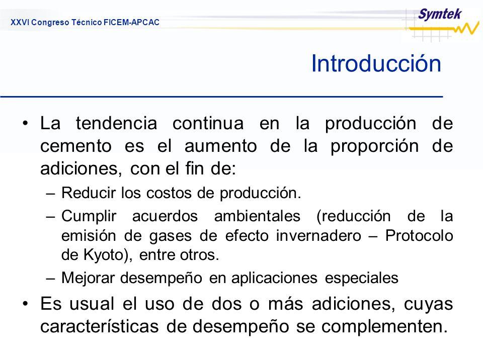 XXVI Congreso Técnico FICEM-APCAC Introducción La tendencia continua en la producción de cemento es el aumento de la proporción de adiciones, con el f