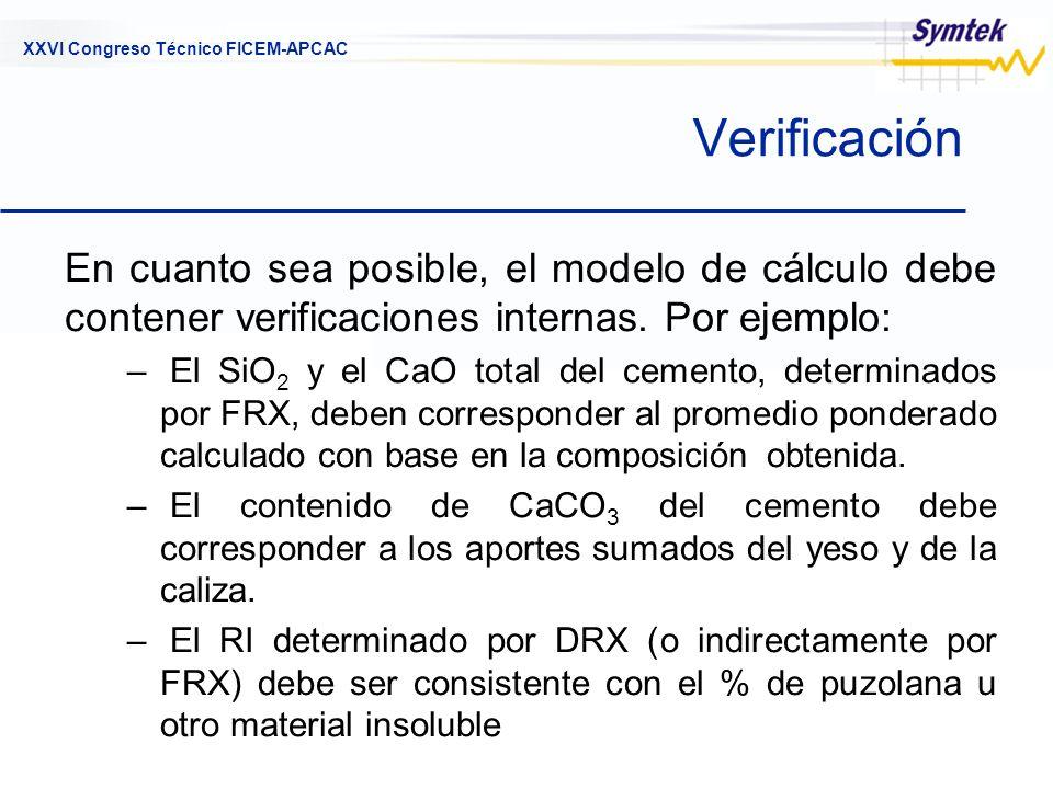 XXVI Congreso Técnico FICEM-APCAC Verificación En cuanto sea posible, el modelo de cálculo debe contener verificaciones internas. Por ejemplo: – El Si