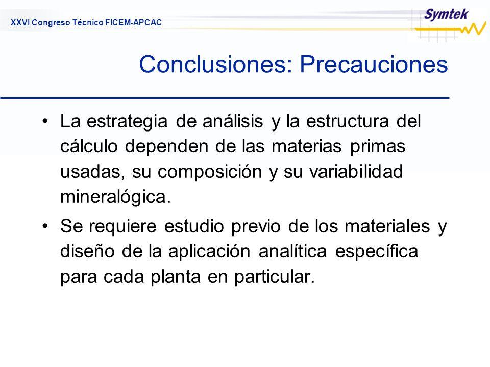 XXVI Congreso Técnico FICEM-APCAC Conclusiones: Precauciones La estrategia de análisis y la estructura del cálculo dependen de las materias primas usa