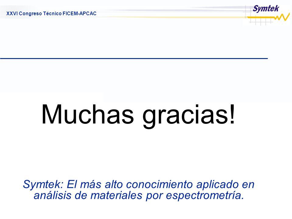 XXVI Congreso Técnico FICEM-APCAC Symtek: El más alto conocimiento aplicado en análisis de materiales por espectrometría. Muchas gracias!