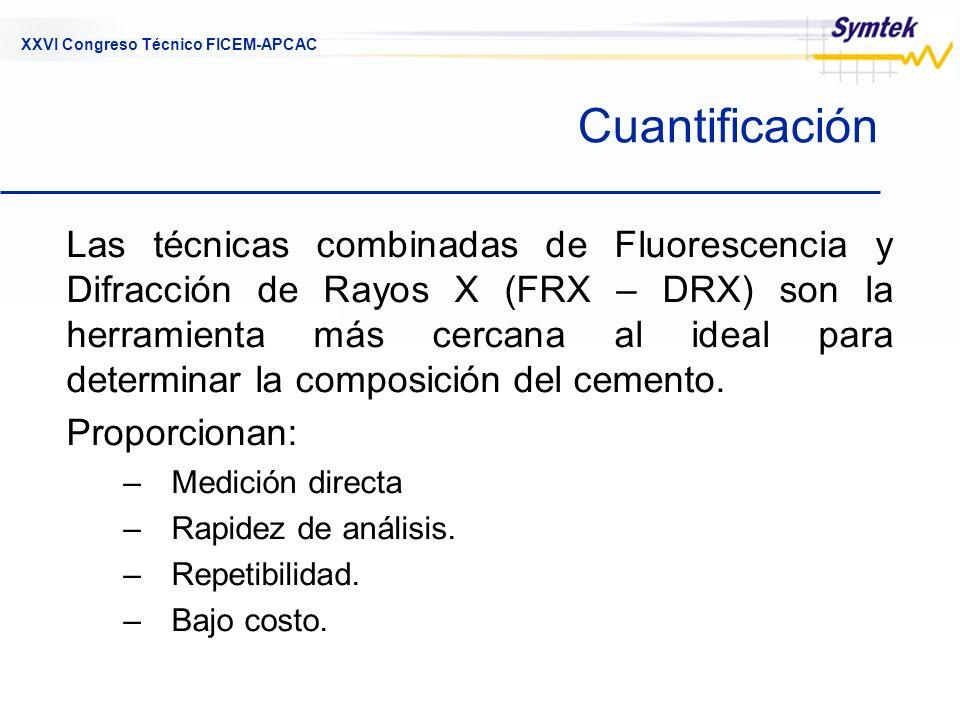 XXVI Congreso Técnico FICEM-APCAC Cuantificación Las técnicas combinadas de Fluorescencia y Difracción de Rayos X (FRX – DRX) son la herramienta más c
