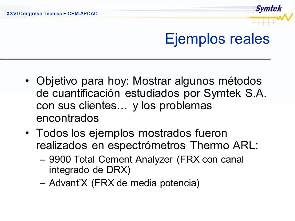 XXVI Congreso Técnico FICEM-APCAC Estrategias generales Determinación directa de componentes minerales mediante DRX Cuantificación de uno o más elementos típicos mediante FRX Determinación indirecta, cuando lo anterior falla