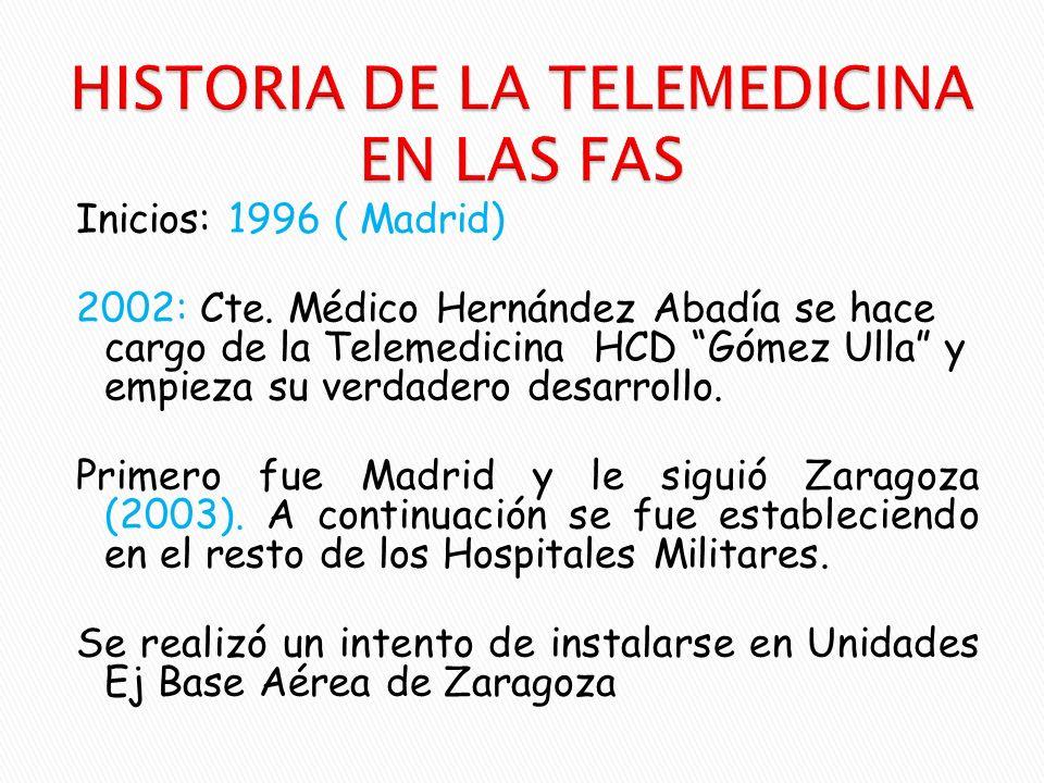 Inicios: 1996 ( Madrid) 2002: Cte. Médico Hernández Abadía se hace cargo de la Telemedicina HCD Gómez Ulla y empieza su verdadero desarrollo. Primero