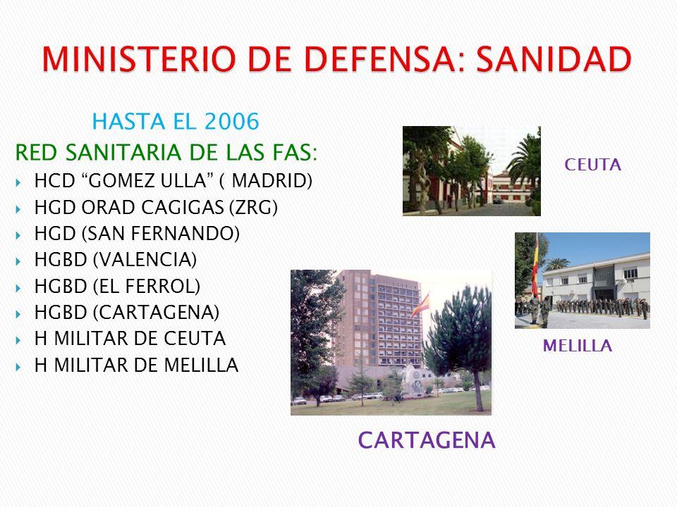 CARTAGENA HASTA EL 2006 RED SANITARIA DE LAS FAS: HCD GOMEZ ULLA ( MADRID) HGD ORAD CAGIGAS (ZRG) HGD (SAN FERNANDO) HGBD (VALENCIA) HGBD (EL FERROL)