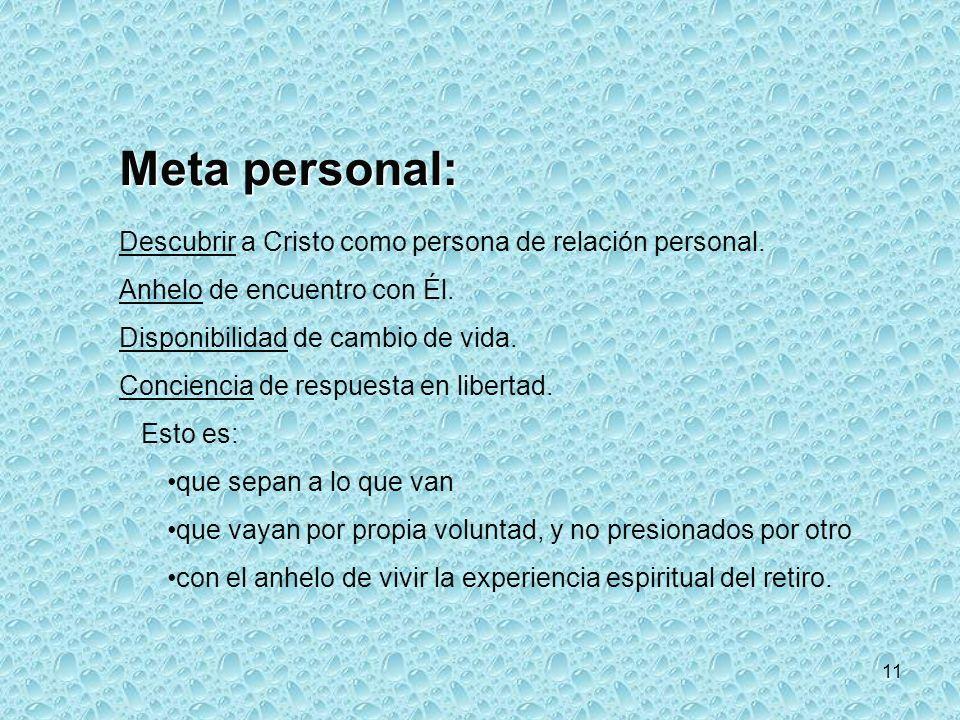 11 Meta personal: Descubrir a Cristo como persona de relación personal.