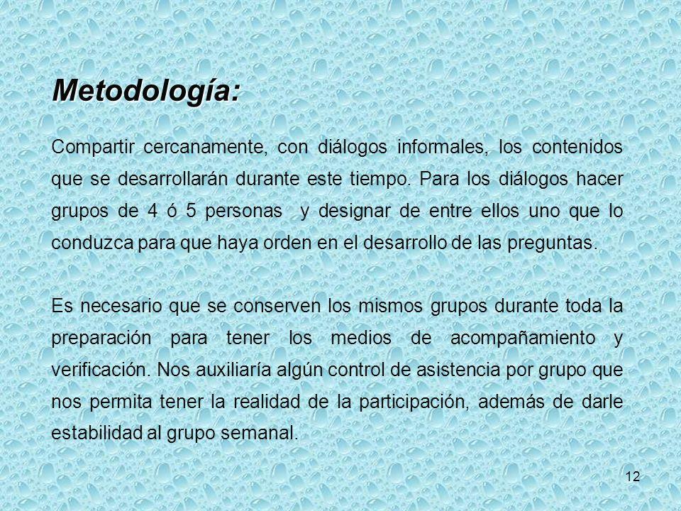 12 Metodología: Compartir cercanamente, con diálogos informales, los contenidos que se desarrollarán durante este tiempo.