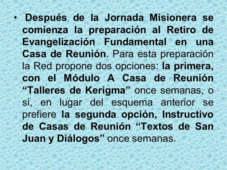 Después de la Jornada Misionera se comienza la preparación al Retiro de Evangelización Fundamental en una Casa de Reunión.