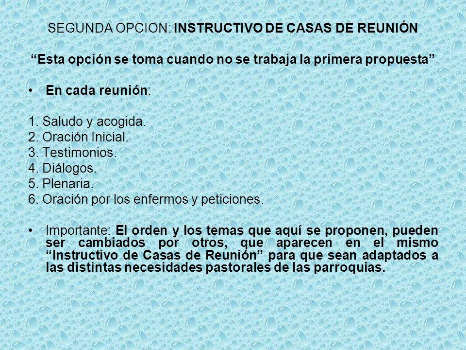 SEGUNDA OPCION: INSTRUCTIVO DE CASAS DE REUNIÓN Esta opción se toma cuando no se trabaja la primera propuesta En cada reunión: 1.