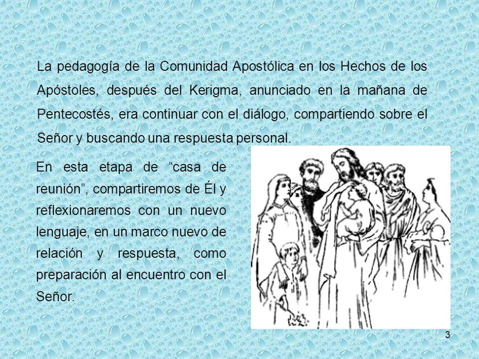 3 La pedagogía de la Comunidad Apostólica en los Hechos de los Apóstoles, después del Kerigma, anunciado en la mañana de Pentecostés, era continuar con el diálogo, compartiendo sobre el Señor y buscando una respuesta personal.