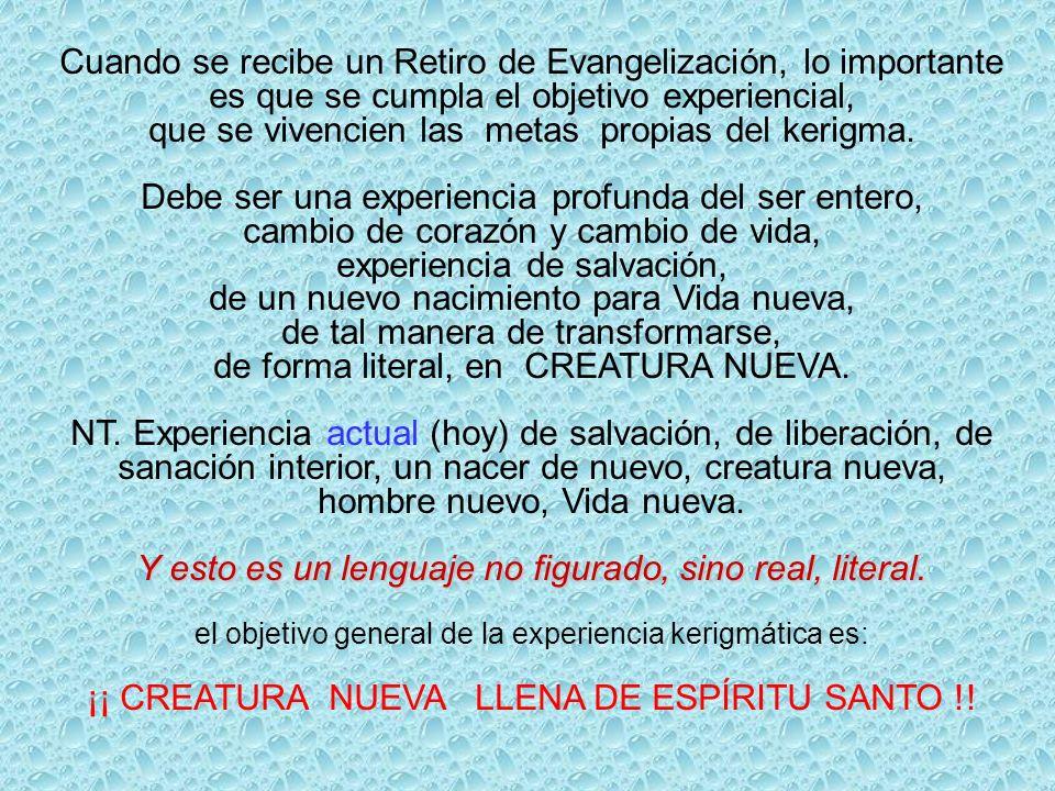 Cuando se recibe un Retiro de Evangelización, lo importante es que se cumpla el objetivo experiencial, que se vivencien las metas propias del kerigma.