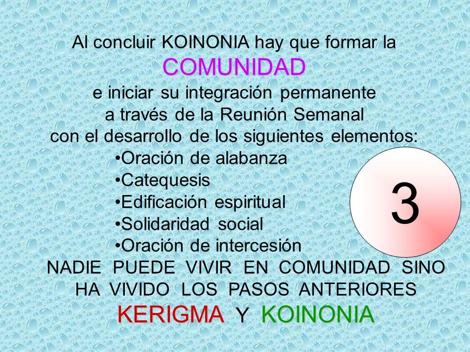 Al concluir KOINONIA hay que formar laCOMUNIDAD e iniciar su integración permanente a través de la Reunión Semanal con el desarrollo de los siguientes elementos: Oración de alabanza Catequesis Edificación espiritual Solidaridad social Oración de intercesión NADIE PUEDE VIVIR EN COMUNIDAD SINO HA VIVIDO LOS PASOS ANTERIORES KERIGMA KOINONIA KERIGMA Y KOINONIA 3