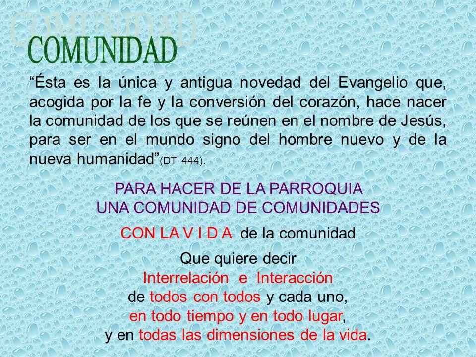 Ésta es la única y antigua novedad del Evangelio que, acogida por la fe y la conversión del corazón, hace nacer la comunidad de los que se reúnen en el nombre de Jesús, para ser en el mundo signo del hombre nuevo y de la nueva humanidad (DT 444).