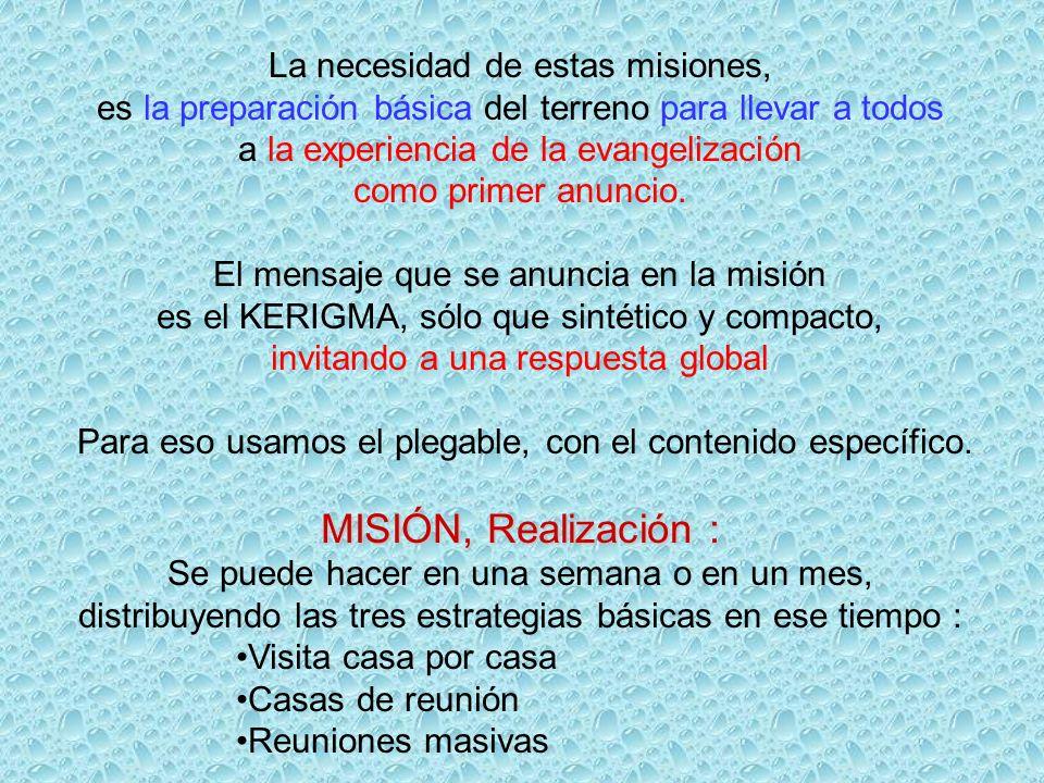 La necesidad de estas misiones, es la preparación básica del terreno para llevar a todos a la experiencia de la evangelización como primer anuncio.
