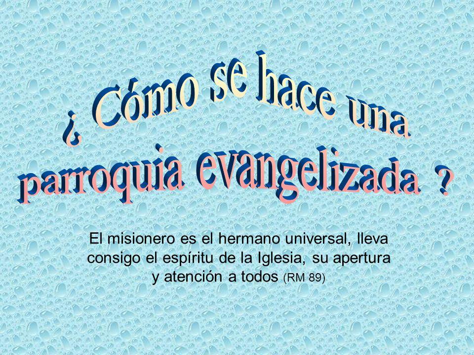 El misionero es el hermano universal, lleva consigo el espíritu de la Iglesia, su apertura y atención a todos (RM 89)