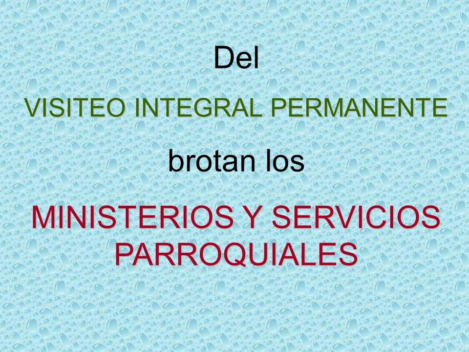 Del VISITEO INTEGRAL PERMANENTE brotan los MINISTERIOS Y SERVICIOS PARROQUIALES