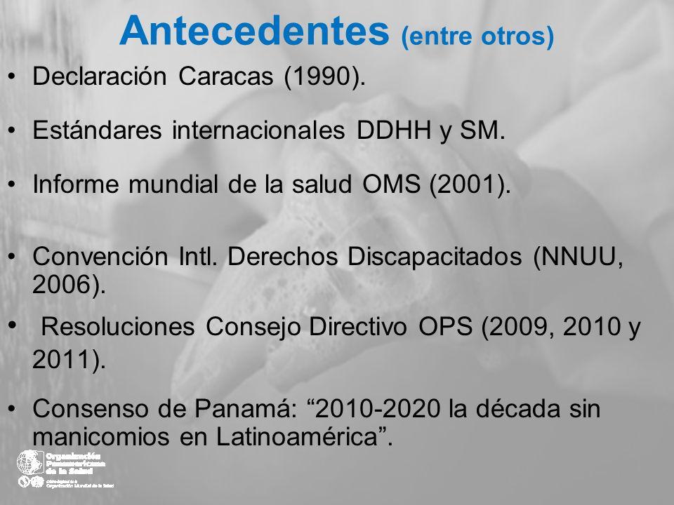 Antecedentes (entre otros) Declaración Caracas (1990). Estándares internacionales DDHH y SM. Informe mundial de la salud OMS (2001). Convención Intl.