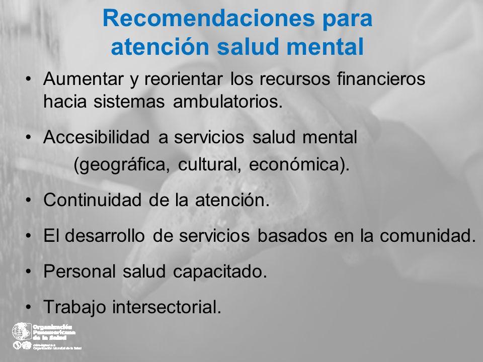 Recomendaciones para atención salud mental Aumentar y reorientar los recursos financieros hacia sistemas ambulatorios. Accesibilidad a servicios salud