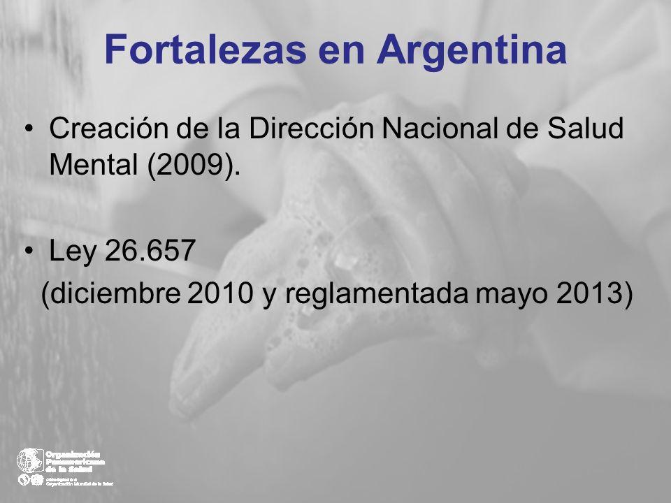 Fortalezas en Argentina Creación de la Dirección Nacional de Salud Mental (2009). Ley 26.657 (diciembre 2010 y reglamentada mayo 2013)