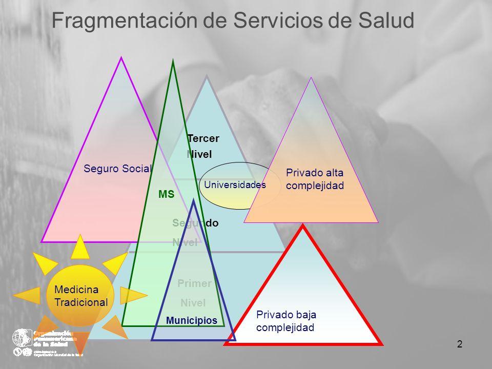 Fragmentación de Servicios de Salud Tercer Nivel Segundo Nivel Primer Nivel Seguro Social Privado alta complejidad MS Medicina Tradicional Privado baj