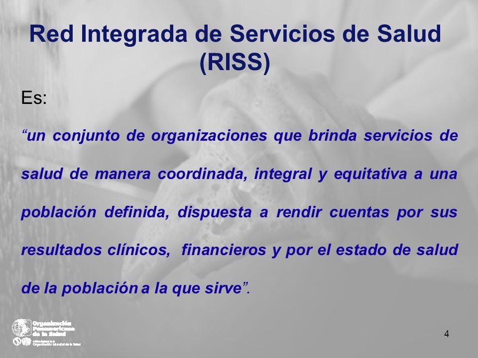 Red Integrada de Servicios de Salud (RISS) Es: un conjunto de organizaciones que brinda servicios de salud de manera coordinada, integral y equitativa