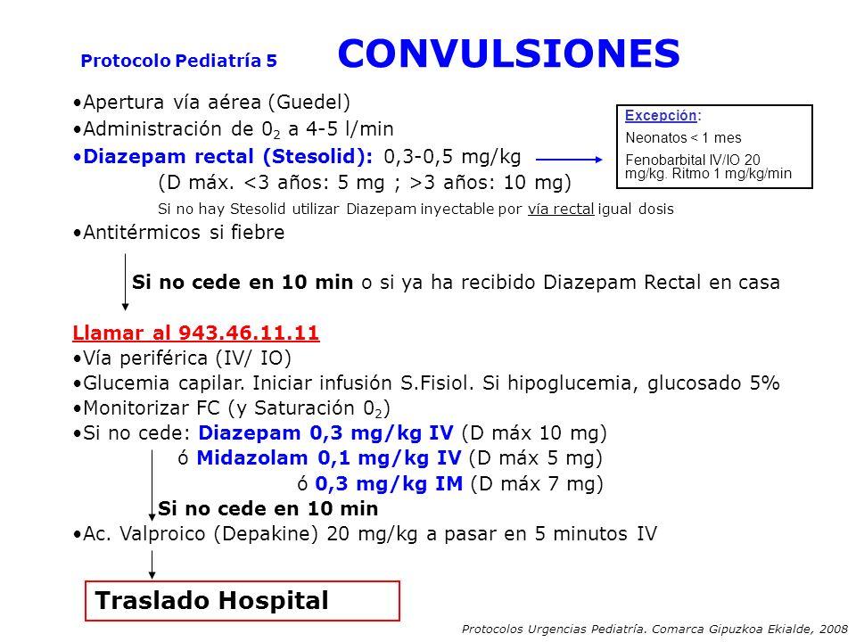 Apertura vía aérea (Guedel) Administración de 0 2 a 4-5 l/min Diazepam rectal (Stesolid): 0,3-0,5 mg/kg (D máx. 3 años: 10 mg) Si no hay Stesolid util