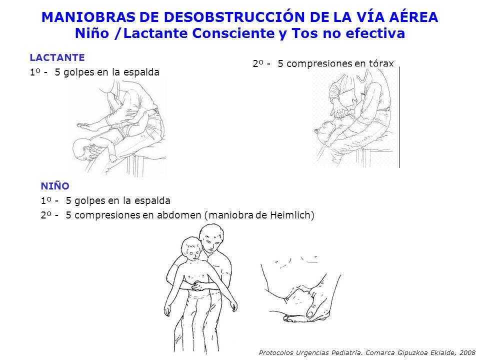 MANIOBRAS DE DESOBSTRUCCIÓN DE LA VÍA AÉREA Niño /Lactante Consciente y Tos no efectiva LACTANTE 1º - 5 golpes en la espalda 2º - 5 compresiones en tó