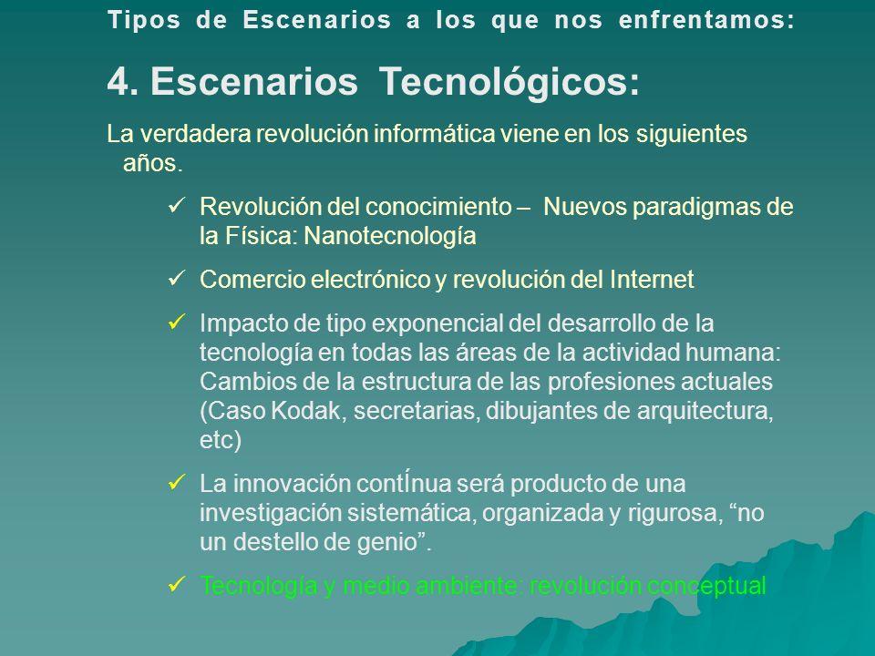Tipos de Escenarios a los que nos enfrentamos: 4. Escenarios Tecnológicos: La verdadera revolución informática viene en los siguientes años. Revolució