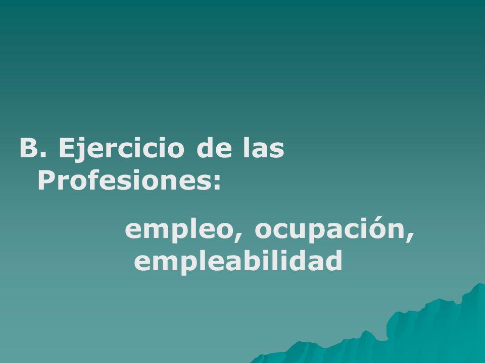 B. Ejercicio de las Profesiones: empleo, ocupación, empleabilidad