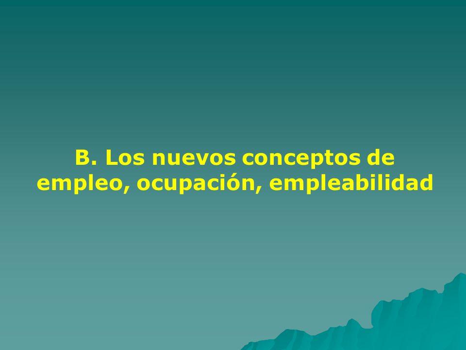 B. Los nuevos conceptos de empleo, ocupación, empleabilidad