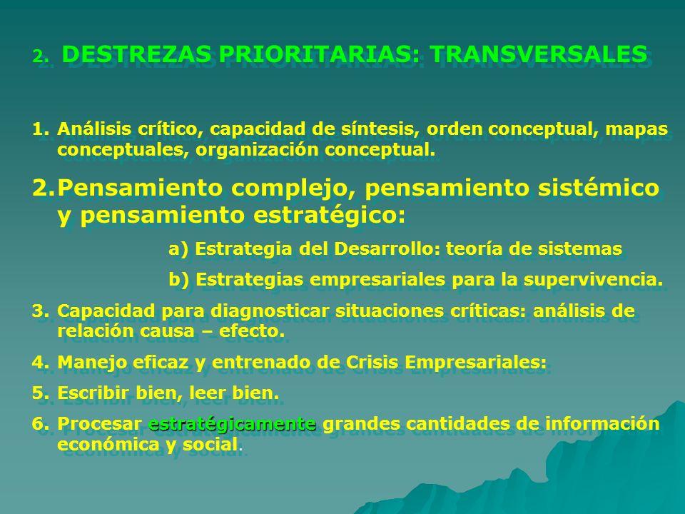 2. DESTREZAS PRIORITARIAS: TRANSVERSALES 1.Análisis crítico, capacidad de síntesis, orden conceptual, mapas conceptuales, organización conceptual. 2.P