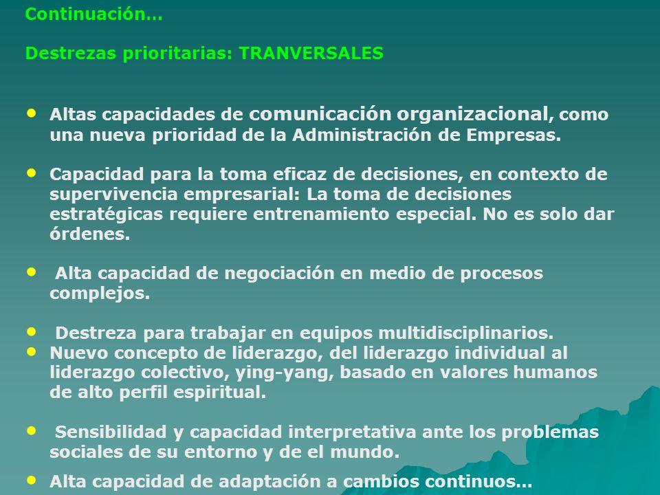 Continuación… Destrezas prioritarias: TRANVERSALES Altas capacidades de comunicación organizacional, como una nueva prioridad de la Administración de
