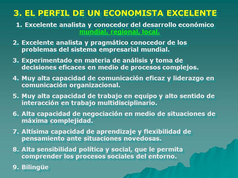 3. EL PERFIL DE UN ECONOMISTA EXCELENTE 1.Excelente analista y conocedor del desarrollo económico mundial, regional, local. 2.Excelente analista y pra