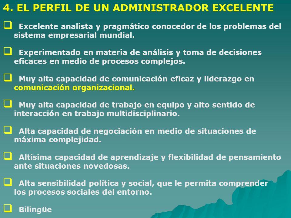 4. EL PERFIL DE UN ADMINISTRADOR EXCELENTE Excelente analista y pragmático conocedor de los problemas del sistema empresarial mundial. Experimentado e