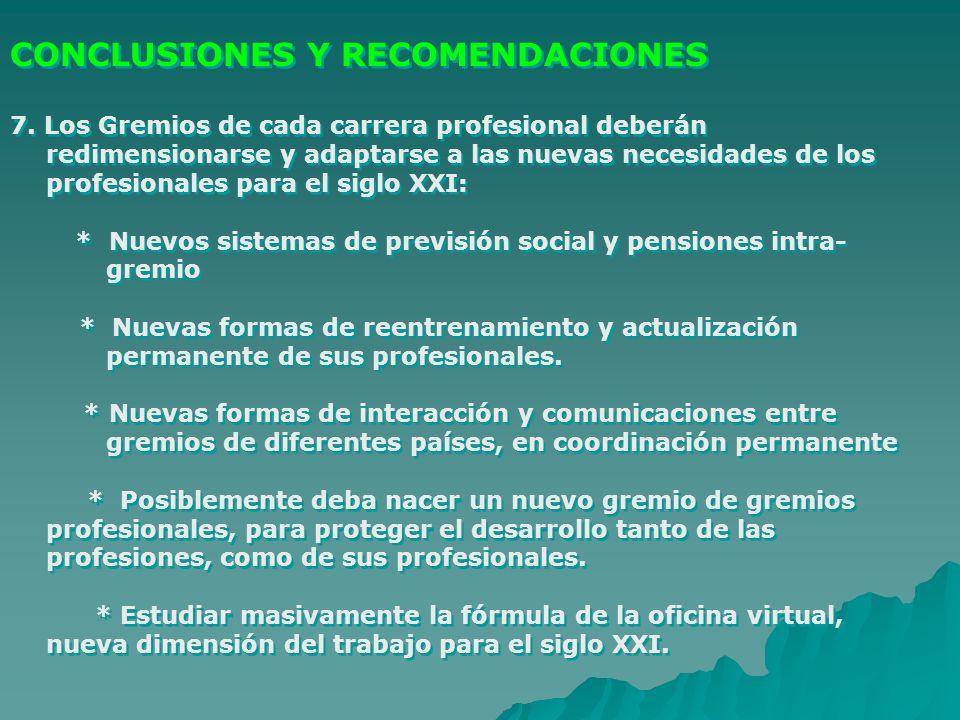 CONCLUSIONES Y RECOMENDACIONES 7. Los Gremios de cada carrera profesional deberán redimensionarse y adaptarse a las nuevas necesidades de los profesio