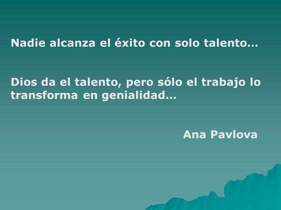 Nadie alcanza el éxito con solo talento… Dios da el talento, pero sólo el trabajo lo transforma en genialidad… Ana Pavlova