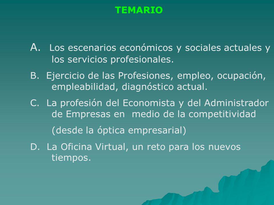 TEMARIO A. Los escenarios económicos y sociales actuales y los servicios profesionales. B. Ejercicio de las Profesiones, empleo, ocupación, empleabili