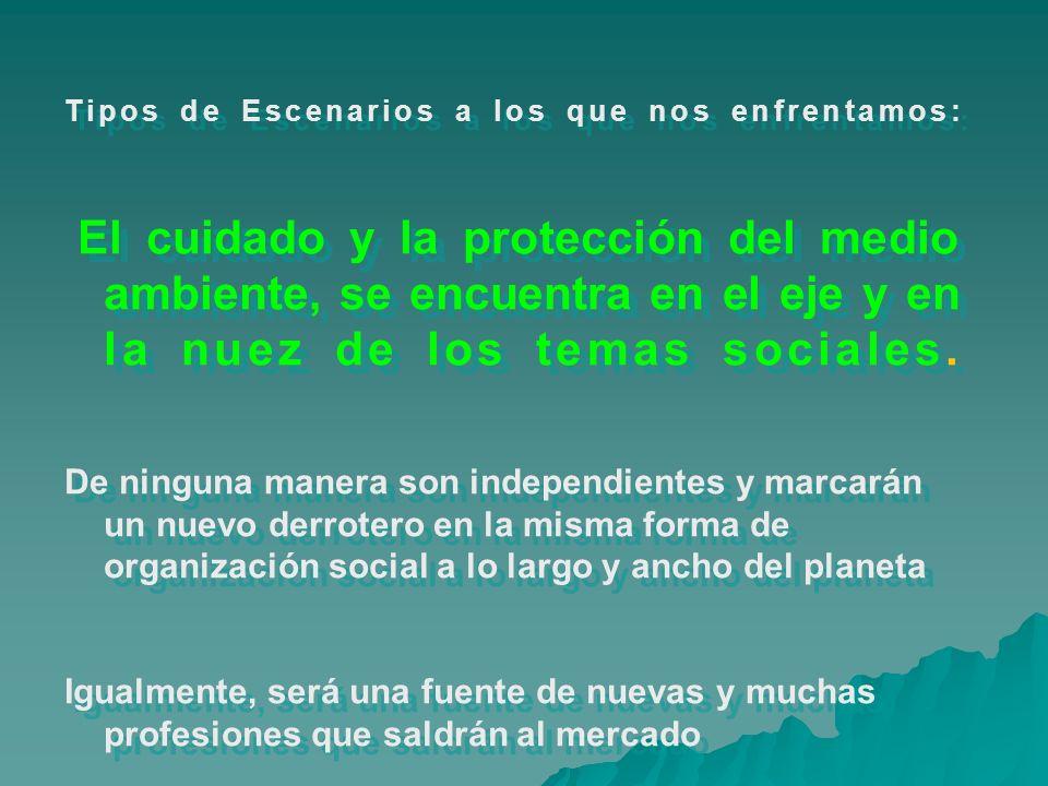 Tipos de Escenarios a los que nos enfrentamos: El cuidado y la protección del medio ambiente, se encuentra en el eje y en la nuez de los temas sociale
