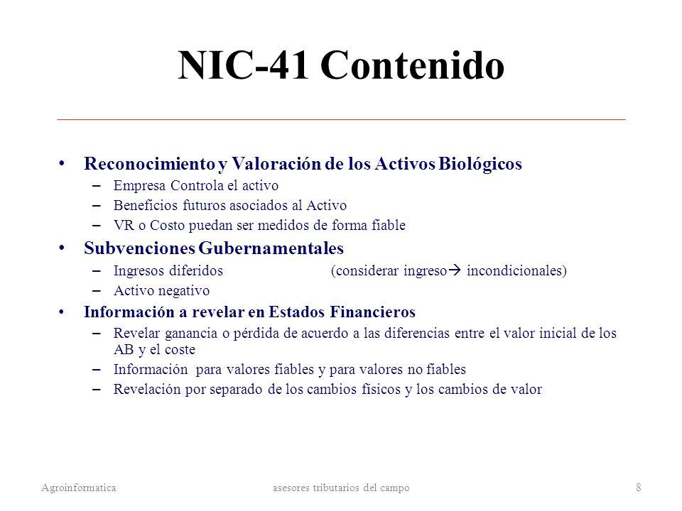 NIC-41 Contenido Reconocimiento y Valoración de los Activos Biológicos – Empresa Controla el activo – Beneficios futuros asociados al Activo – VR o Co