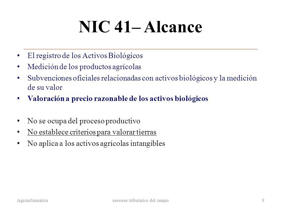 NIC 41– Alcance El registro de los Activos Biológicos Medición de los productos agrícolas Subvenciones oficiales relacionadas con activos biológicos y