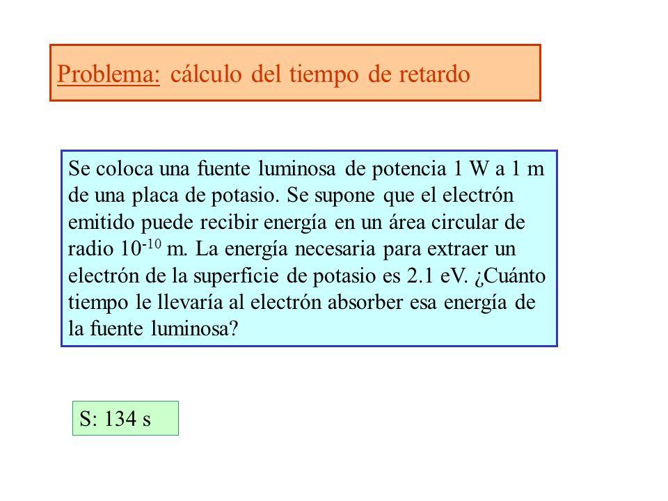 Problema: cálculo del tiempo de retardo Se coloca una fuente luminosa de potencia 1 W a 1 m de una placa de potasio. Se supone que el electrón emitido