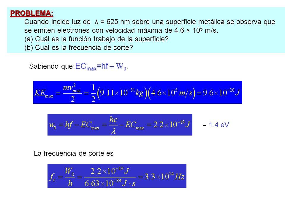 PROBLEMA: Cuando incide luz de λ = 625 nm sobre una superficie metálica se observa que se emiten electrones con velocidad máxima de 4.6 × 10 5 m/s. (a