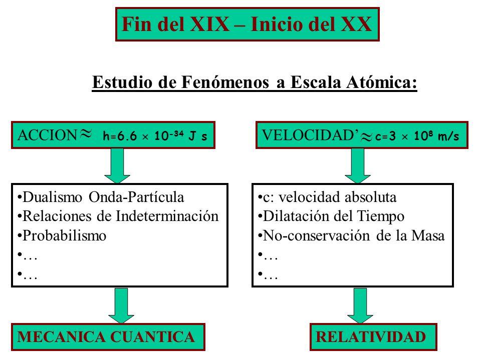 Fin del XIX – Inicio del XX Estudio de Fenómenos a Escala Atómica: ACCION h=6.6 10 -34 J s Dualismo Onda-Partícula Relaciones de Indeterminación Proba