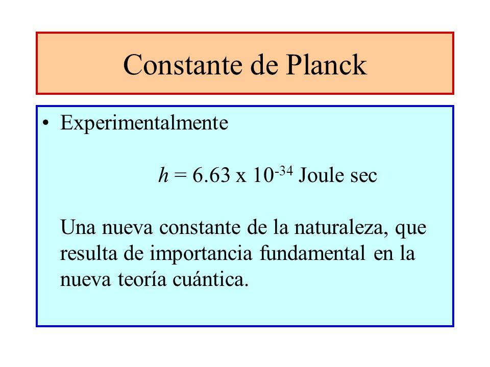 Constante de Planck Experimentalmente h = 6.63 x 10 -34 Joule sec Una nueva constante de la naturaleza, que resulta de importancia fundamental en la n