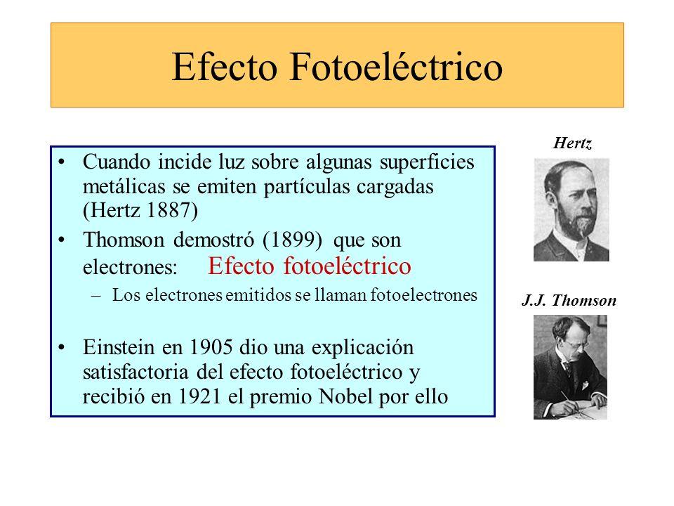 Efecto Fotoeléctrico Cuando incide luz sobre algunas superficies metálicas se emiten partículas cargadas (Hertz 1887) Thomson demostró (1899) que son